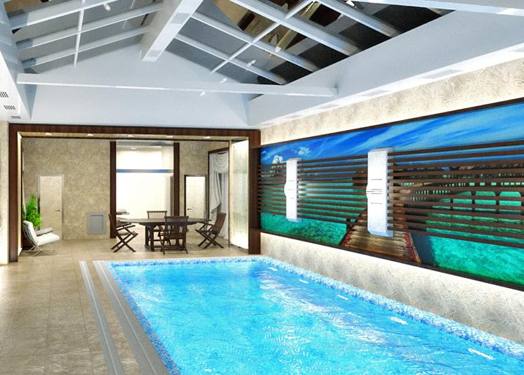 Преимущество бассейна в частном доме в том, что им можно пользоваться в любое время года