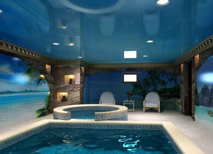 Наиболее популярным и востребованным является стационарный бассейн, который располагается внутри частного дома