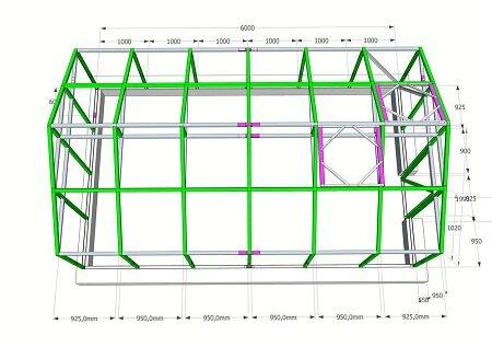 На чертеже указываются размеры всех элементов теплицы, благодаря чему легко высчитать количество необходимого материала для ее сооружения